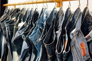"Jeans are displayed at the ""Bread & Butter"" fashion tradeshow in Barcelona"